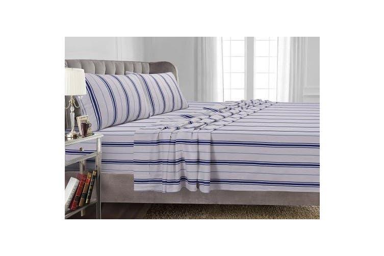 California King Blue 170 Gsm Stripe Printed Deep Pocket Flannel Sheet Set Cal King Blue Matt Blatt