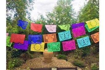 "Beautiful Mexican TISSUE ""Papel Picado"" Banner - 12 TISSUE PANELS in Medium Size / Multi-Coloured - Designs and Colours as Pictured by Paper Full of Wishes"