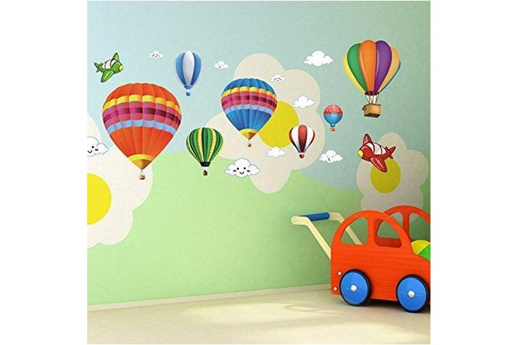 Amaonm Removable Creative 3D Hot air Balloon Aircraft and Smile Clouds Wall Decals Kids room Wall Decorations art Decor Stickers Nursery Decor 3D art Decal Bedroom Bathroom Sticker