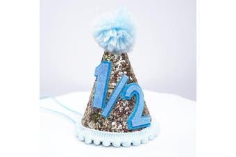 Mini Pale Gold Glitter Cake Smash Birthday Party Cone Hat w/ Pom Pom Top - Baby to Toddler Size (Blue Pom, Blue #1/2)