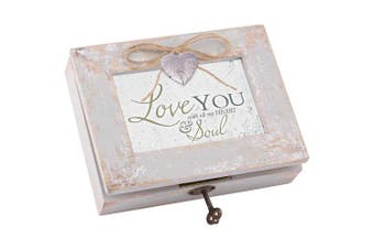 Love Heart Soul Distressed Wood Locket Jewellery Music Box Plays Tune You Light Up My Life