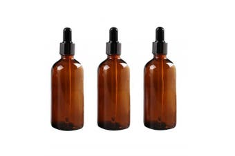 2 Pcs 100ml Empty Amber Glass Bottle with Glass Dropper for Essential Oil Formulas