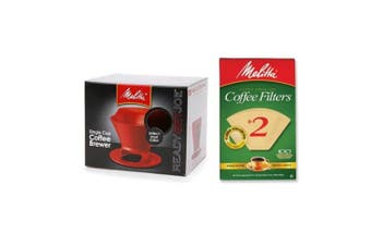 (Red) - Melitta Pour Over Coffee Cone Brewer & #2 Filter Natural Brown Combo Set, Red