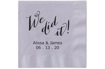 (Silver) - We Did It Personalised Beverage Cocktail Napkins - Canopy Street - 100 Custom Printed Silver Grey Paper Napkins with choice of foil stamp (5856B)