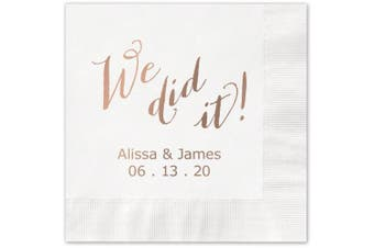 (White) - We Did It Personalised Beverage Cocktail Napkins - Canopy Street - 100 Custom Printed White Paper Napkins with choice of foil stamp (5856B)