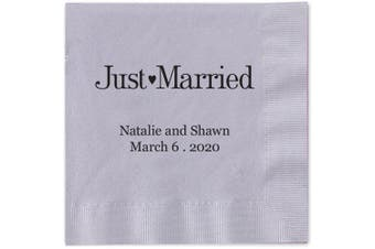 (Silver) - Just Married Personalised Beverage Cocktail Napkins - Canopy Street - 100 Custom Printed Silver Grey Paper Napkins with choice of foil stamp (5176B)