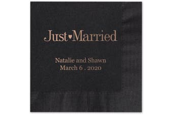 (Black) - Just Married Personalised Beverage Cocktail Napkins - Canopy Street - 100 Custom Printed Black Paper Napkins with choice of foil stamp (5176B)