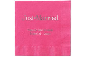 (Hot Pink) - Just Married Personalised Beverage Cocktail Napkins - Canopy Street - 100 Custom Printed Hot Pink Paper Napkins with choice of foil stamp (5176B)