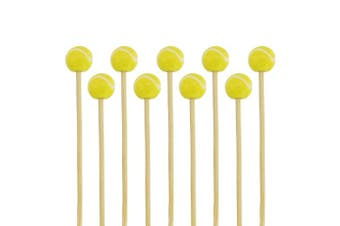 """(1,000pcs - 3.9"""" (10cm), Tennis) - BambooMN 9.9cm Decorative Sports Ball End Bamboo Cocktail Fruit Sandwich Picks Skewers for Catered Events, Holiday's, Restaurants or Buffets Party Supplies, Tennis, 1,000 pcs"""