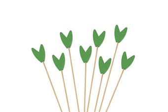 (300, Green) - BambooMN Premium Decorative Tulip End Cocktail Fruit Sandwich Picks Skewers for Catered Events, Holiday's, Restaurants or Buffets Party Supplies - Green, 15cm , 300 pcs