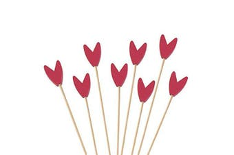 (1000, Red) - BambooMN Premium Decorative Tulip End Cocktail Fruit Sandwich Picks Skewers for Catered Events, Holiday's, Restaurants or Buffets Party Supplies - Red, 15cm , 1,000 pcs