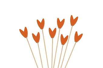 (300, Orange) - BambooMN Premium Decorative Tulip End Cocktail Fruit Sandwich Picks Skewers for Catered Events, Holiday's, Restaurants or Buffets Party Supplies - Orange, 15cm , 300 pcs