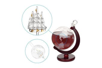 (1000ml SINGLE SHIP DECANTER) - Whiskey Decanter For Spirits Or Wine Decorative Etched World Globe Glass Fiberboard Stand With Crafted Glass Sailing Ship