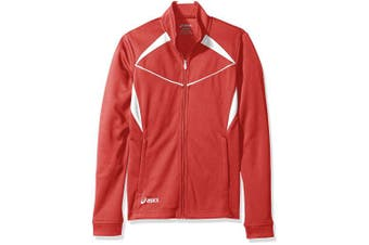 (Large, Red/White) - ASICS Girls Jr Cali Jacket