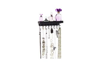 (Small 23cm  wide, Black) - Angelynn's Necklace Holder Organiser Wall Mount Hanging Closet Jewellery Storage Rack with Shelf, Fiona Black