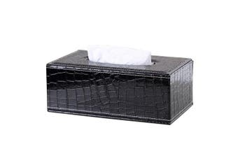 (Black Crocodile) - KINGFOM Rectangular PU Leather Facial Tissue Box Napkin Holder for Home Office, Car Automotive Decoration (Black Crocodile)