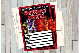 12 FIVE NIGHTS AT FREDDY'S Birthday Invitations (12 13cm x 18cm Cards, 12 matching white envelopes)