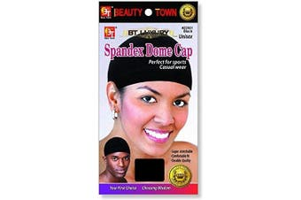 (1 pack, Black) - Beauty Town Spandex Dome Cap #22021 Black