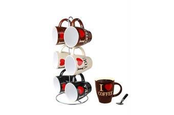 Home Basics Mug Set with Stand, 6 Piece