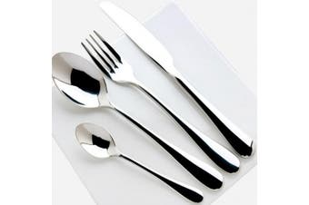 (Silver) - BXT Delicate Stainless Steel Flatware Cutlery Set with Mirror Finish Including Fork Spoons Knife 4 Piece Tableware Dinner Set