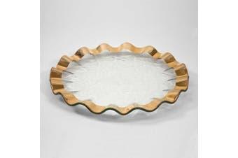 (Gold) - Annieglass 33cm Buffet Plate - Ruffle Series (Gold)