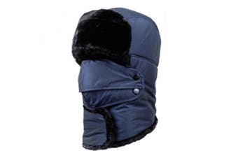 (Navy-with neck warmer) - BXT Unisex Womens Mens Winter Windproof Faux Fur Trapper Hat with Detachable Face Mask Ear Flaps Thermal Ski Snowboard Cap Trooper Pilot Hat