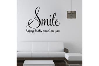 (Smile) - ChezMax Removable Home Decor PVC DIY Decorative Smile Wall Sticker English Quote for Living Room 60cm x 45cm