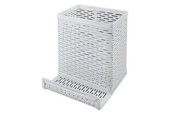 (White) - Artistic Urban Collection Punched Metal Pencil Cup with Cell Stand, White (ART20014WH)