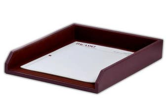 (Chocolate Brown) - Dacasso Chocolate Brown Leather Letter Tray
