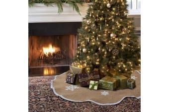 Aytai Christmas Tree Skirt 120cm Burlap Tree Skirt White Snowflake Printed Christmas Decorations Indoor Outdoor