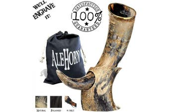 (30cm , Natural Horn) - AleHorn Authentic Drinking Horn Curved Style with Stand -Natural- 30cm - Viking Style Genuine Handcrafted Viking Beer Cup for Ale, Mead - Food Safe - Mediaeval Style Inspired by Game of Thrones