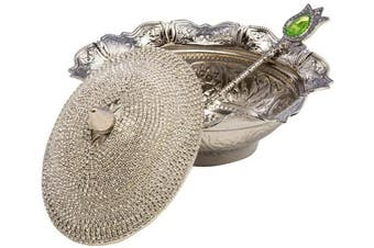 (Silver) - Crystal Coated Handmade Brass Sugar Chocolate Candy Bowl Serving Dish (Silver)