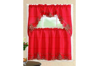 (Christmas Tree with Bells, Red/Red) - All American Collection New 3pc Christmas Holiday Design Embroidered Kitchen Curtain Set (Christmas Tree with Bells, Red/Red)