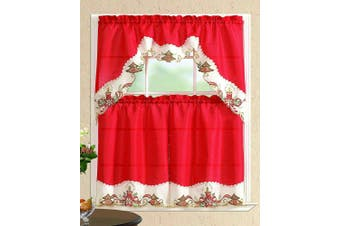 (Christmas Tree with Candles, Red/Beige) - All American Collection New 3pc Christmas Holiday Design Embroidered Kitchen Curtain Set (Christmas Tree with Candles, Red/Beige)