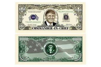 American Art Classics Pack of 100 - Donald Trump Commander in Chief Presidential Limited Edition Million Dollar Bill