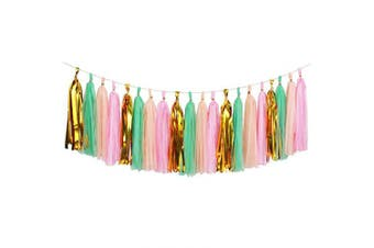 (Pink+Mint+Peach-Gold Mylar) - Koker 20 PCS Shiny Tassels Garland - Tissue Paper Tassels Banner for Wedding, Baby Shower, Festival Party Wall Decoration (Pink-Mint-Peach-Gold)