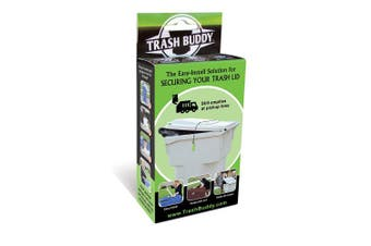 Trash Buddy - Dog Proof Trash Can Lid - The Easy-Instal Solution for Securing Your Outdoor Garbage Can Lid - Still Empties at Pickup Time