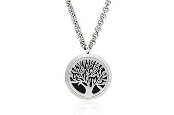Jewellett Tree of Life Essential Oil Diffuser Necklace - Aromatherapy Jewellery - Hypoallergenic 316L Stainless Steel, 50cm Chain with 12 Assorted Pads