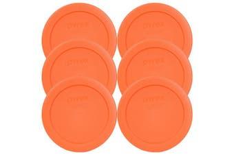 (6, Orange) - Pyrex 7200-PC Round 2 Cup Storage Lid for Glass Bowls (6, Orange)