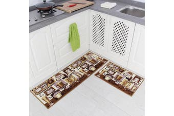 (Coffee(Brown)) - Carvapet 2 Piece Non-Slip Kitchen Mat Rubber Backing Doormat Runner Rug Set, Coffee Design (Brown 38cm x 120cm +38cm x 60cm )