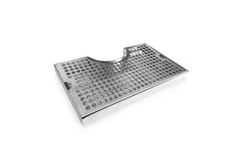 Non-Slip Rubber Padded Stainless Steel Drip Tray with Tower Cutout by Perfect Pour