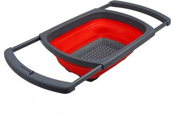 (Red) - Kitchen Candy Collapsible Over the Sink Colander/Strainer, Red