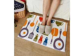 (40cm  x 60cm , Kitchen Ware) - A.B Crew Modern Kitchen Floor Carpet Washable Bathroom Rug Kitchen Non-Slip Runner Rug(Kitchen Ware,40cm x 60cm )