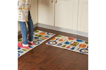 (40cm  x 60cm +45cm  x 120cm , Kitchen Ware) - A.B Crew Modern Kitchen Floor Carpet Washable Bathroom Rug Kitchen Non-Slip Runner Rug(Kitchen Ware,40cm x 60cm +45cm x 120cm )