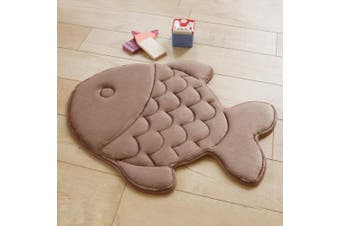 (Camel) - A.B Crew Fish Shaped Memory Foam Mat Rug for Doormat Bedroom Bathroom Area(Camel)