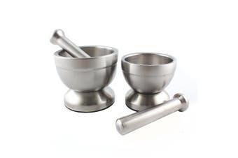 (Large) - Large Mortar and Pestle Set for Kitchen, Stainless Steel Garlic Pugging Pot Bowl