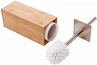 (Natural) - GOBAM Toilet Brush and Holder Stainless Steel Handle and Lid for All Toilet Types with Sanitary Storage,Bamboo (Natural)