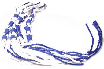 (Royal Blue) - Tzitzits (Set of Four) White with Blue Thread - Tassels ( with Longer Blue Messiah Thread ) (Royal Blue)