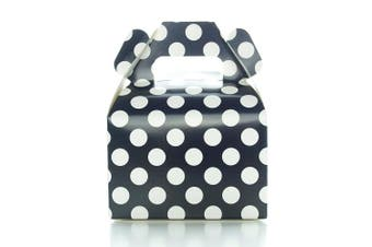 Party Favour Candy Boxes, Black Polka Dot (12 Pack) - Black Candy Buffet Treat Boxes, Wedding Table Decorations, Small Black Birthday Gift Boxes