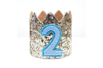 Mini Pale Gold Glitter Cake Smash Birthday Party Crown Hat - Baby to Toddler Size (Gold Glitter w/ Blue #2)